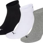 Puma sokken Quarter wit-zwart-grijs 3-pack