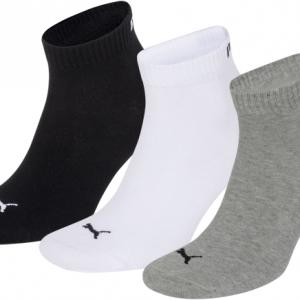Puma sokken halfhoog wit-zwart-grijs 3-pack-35-38